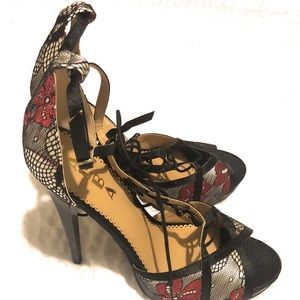 Alba Black, Red, and Silver High Heel Shoe